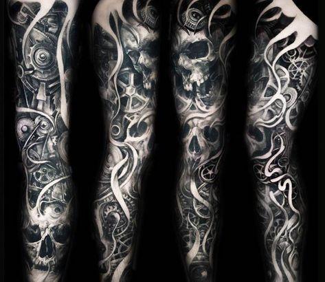 Sleeve Tattoo By Julien Thibers Post 19850 Skull Sleeve Tattoos Sleeve Tattoos Best Sleeve Tattoos