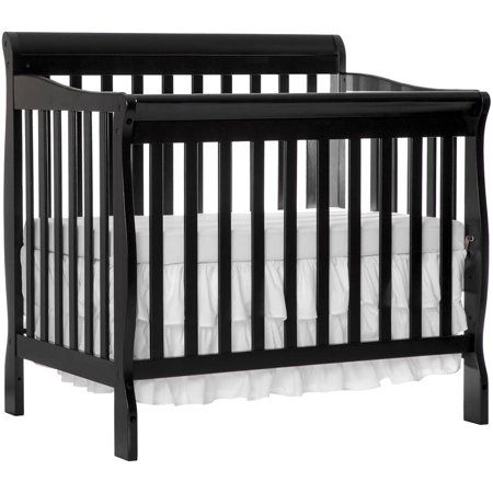 Dream On Me Aden 4 In 1 Convertible Mini Crib Black Walmart Com Mini Crib Cribs Twin Size Bedding