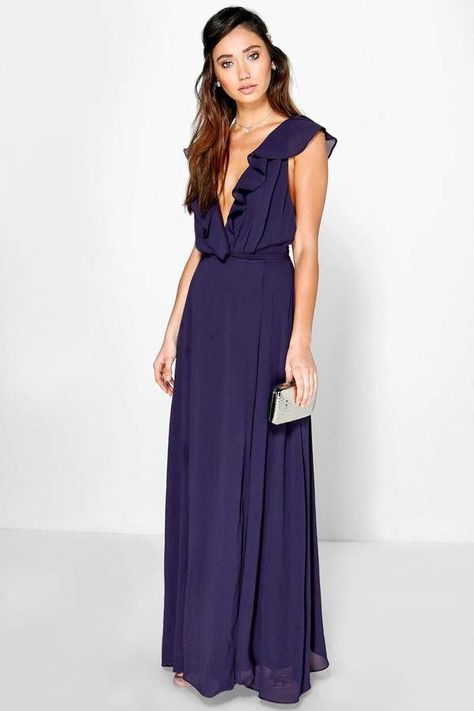 boohoo daisy frill wrap detail chiffon maxi dress #fashion