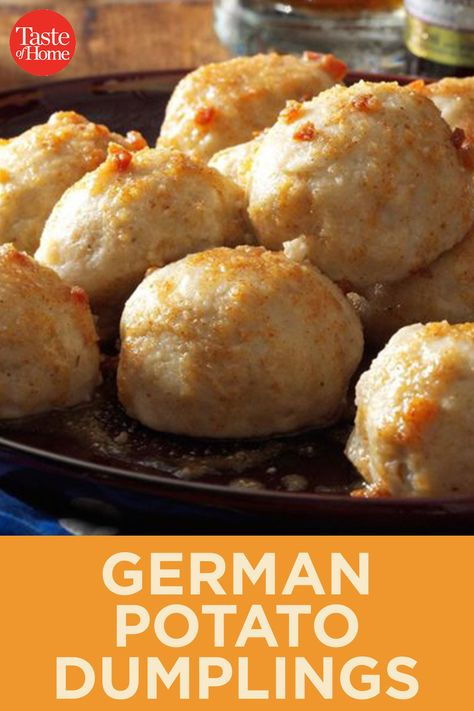 German Potato Dumplings - - Potato dumplings (called Kartoffel Kloesse in Germany) are a delightful addition to any German feast. The browned butter sauce is delectable. Easy German Recipes, Austrian Recipes, Beef Bourguignon, Roast Recipes, Cooking Recipes, Dinner Recipes, Oktoberfest Food, Octoberfest Party, German Potatoes