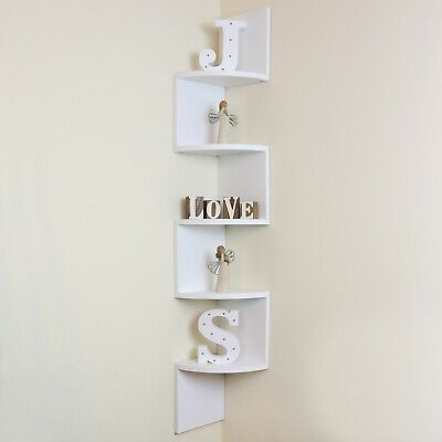 5 Tier White Wall Mounted Zigzag Corner Floating Shelf Shelves Display Wood Unit In 2020 Floating Shelves Display Shelves Wall Mounted Shelves