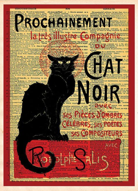 Upcycle Chat Noir Music Sheet Cat Music Canvas Art Print
