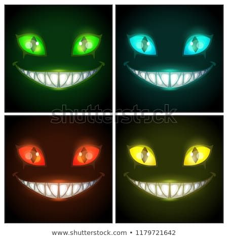 Halloween Creepy Posters Set Fantasy Scary Smiling Evil Animal Face On The Black Background Cheshire Cat Eyes And Mou Scary Eyes Cat Eyes Drawing Creepy Eyes