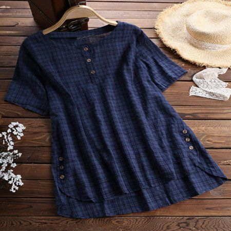 One opening - Womens Summer Retro O Neck Short Sleeve Blouses Loose Baggy Tops Tunic T Shirts Plus Size - Walmart.com