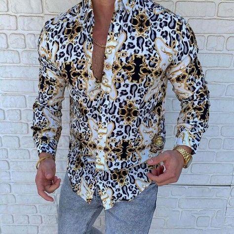 2021 Men Hawaiian Shirt For Lapel Print Button Long Sleeve Tops Casual Fashion Business Shirts Men Clothing Vacation Shirts - YHCS-11 / XXXL