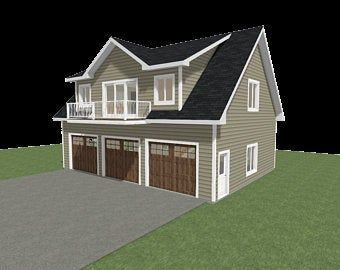 30x24 2 Car Garage 720 Sq Ft 12ft Walls Pdf Floor Etsy In 2020 Garage Plans With Loft Carriage House Garage Building A Garage