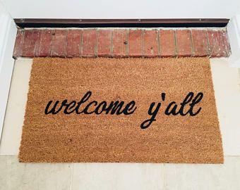 The Original Welcome Y All Door Mat Tangled Designs Co Mats Are Painted With Durable Outdoor Paint For A Las Door Mat Custom Doormat Personalized Door Mats