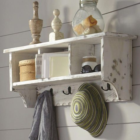 Alaterre Furniture Country Cottage Coat Hook Cubby Wall Shelf White Entrywayfurniture Wall Mounted Coat Rack Shelves Cubby Storage