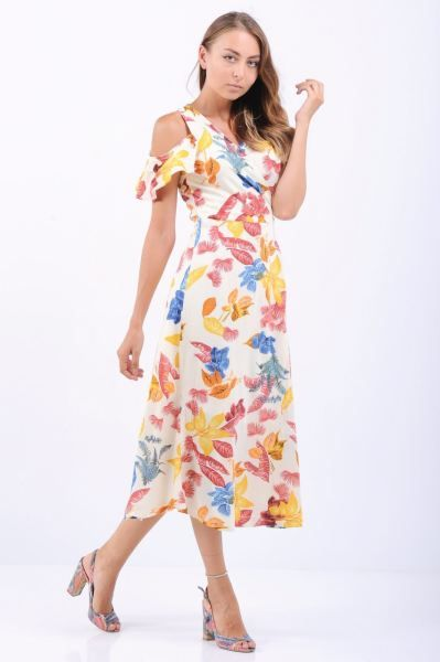 Elbise Omuz Acik Pembe Cicekli Beyaz Midi Elbise Fashion Tasarim 2018 Hamile Modern Marjinal Indirim Style Alis Midi Elbise Elbise Modelleri Elbise