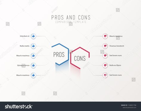 Pros And Cons Comparison Vector Template Light With Blue Purple Hexagons Circles Place For Your Text
