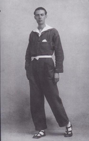 Men's dress reform movement; Ernesto Thayaht, Italian Futurist designed this one-piece garment called