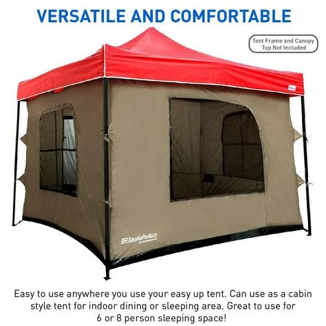 C&ing Tent attaches to any 10u0027x10u0027 Easy Up Pop Up Canopy Tent with 4 Walls PVC Floor 2 Doors and 4 Windows - Vented Roof - Standing Tent - Family Room ...  sc 1 st  Pinterest & Camping Tent attaches to any 10u0027x10u0027 Easy Up Pop Up Canopy Tent with ...