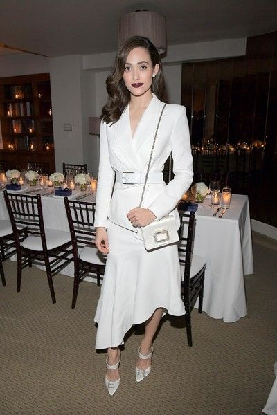 Emmy Rossum attends the Opening of Beverly Hills Boutique with a private VIP dinner hosted by Giovanni Morelli, Stuart Weitzman Creative Director, and Laura Brown, InStyle Editor-In-Chief at The Sunset Tower Hotel.