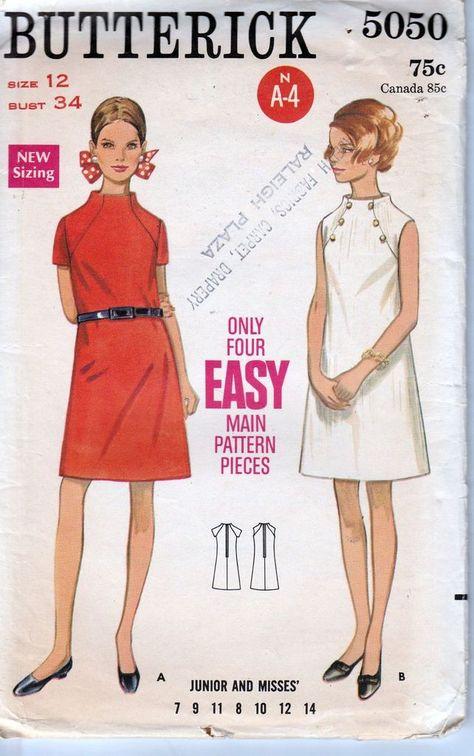 Butterick 5050 Ladies A line Dress Vintage 1960's Sewing