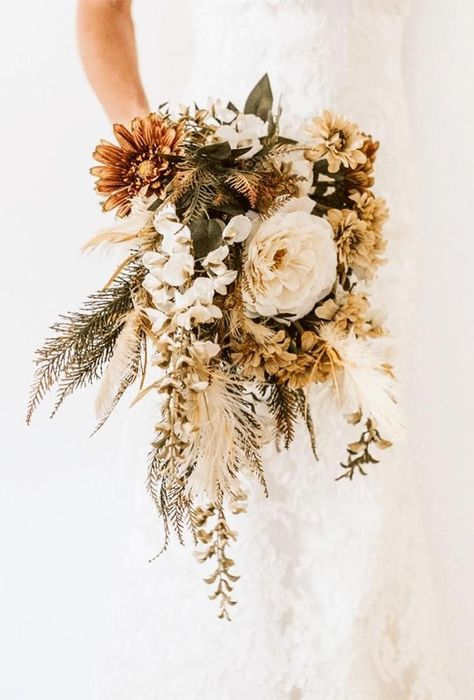 flower bouquet wedding A bridal bouquet with the participation of dried flowers will perfectly fit into a wedding image, well complement the boho style and will be relevant for w Cascading Wedding Bouquets, Cascade Bouquet, Bridal Flowers, Flower Bouquet Wedding, Silk Flowers, Wedding Dried Flowers, Dry Flowers, Boquet, Blush Flowers