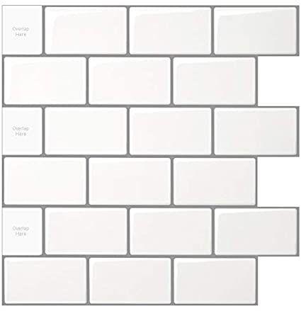 Art3d 10 Sheet Peel And Stick Backsplash 12 X12 Subway Tile Shiny White With Gray Grout Marble Til Stick On Tiles Stick Tile Backsplash Peel And Stick Tile