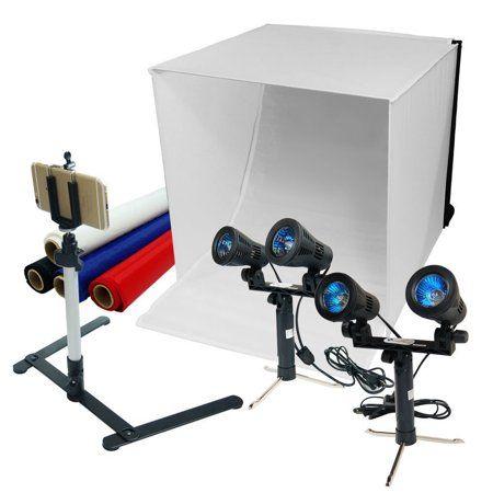 """LimoStudio 24/"""" Folding Photo Box Tent LED Light Table Top Photography Studio Kit"""