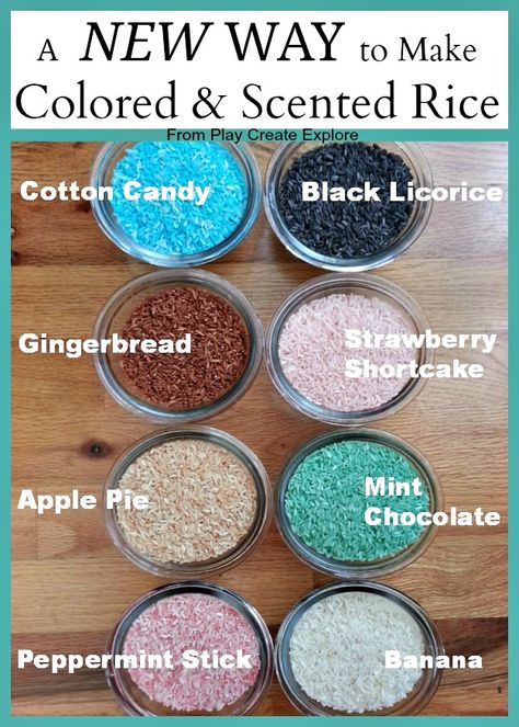 Play Create Explore: Homemade Colored and Scented Rice for Sensory Play