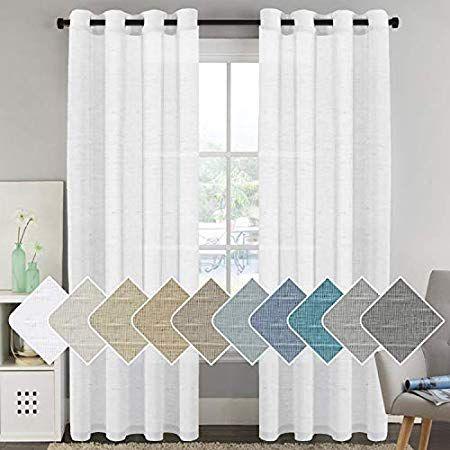 Amazonsmile Elegant White Linen Sheer Curtains 96 Inch For Living