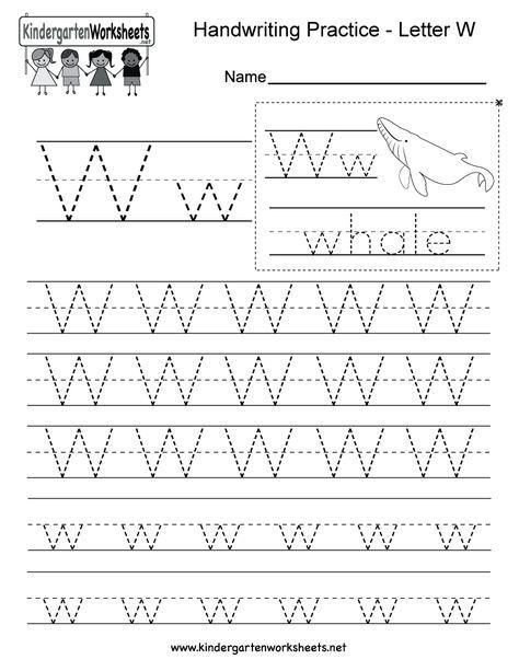 Letter W Handwriting Practice Worksheet For Kindergarteners This Series Of Handwriting Practice Worksheets Writing Worksheets Letter Worksheets For Preschool