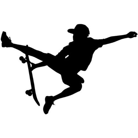Skateboarding Wall Decal Sticker - Skating Sports Silhouette Decoration Mural - 12 in. Black