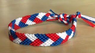 Bracelet Brésilien de l/'Amitié Macramé Coton Friendship bleu blanc