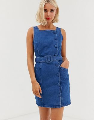fc1919c8a DESIGN denim side button belted mini dress in 2019 | Clothing ...