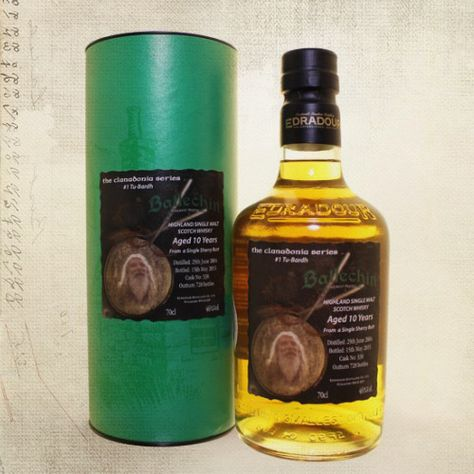 """Clanadonia are delighted to have teamed up with our friends at Edradour Distillery to produce a special edition Whisky:Ballechin Clanadonia Series #1 """"Tu-Bardh""""…  Ballechin is the heavily peated distillation they have been making at Edradour Distillery since 2003. Distilled using barley which has been infused with peat to a level not less than 50ppm. …"""