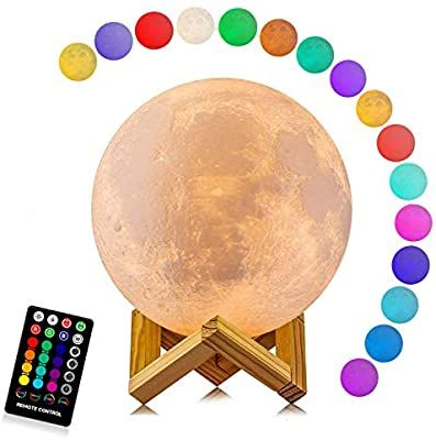 Amazon Com Moon Lamp Logrotate 16 Colors Led 3d Print Moon Light With Stand Remote Touch Control And Usb Rechargeable In 2020 Moon Light Lamp Led Color Lamp Light