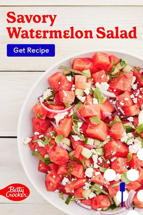 Try our Savory Watermelon Salad for a healthy summer salad recipe. Pin today for a must-try dish.