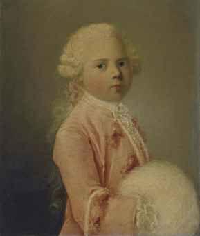 Portrait présumé de Louis-François-Xavier duc de Bourgogne à sept ans signé et daté 'L. Dupont p 1758