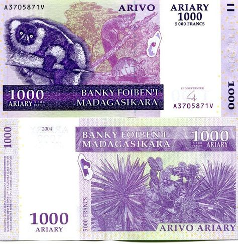 Paper Money 2004 2016 Madagascar 100 Ariary Banknote P-86 New Sign UNC
