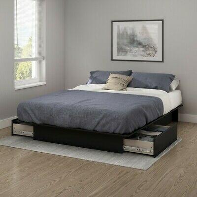 King Platform Bed Black Bedframe 2 Drawers Bedstead Modern Bedroom Furniture In 2020 Platform Bed With Drawers Platform Bed With Storage Bed Frame With Storage