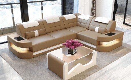 Sofa Couch Luxury Denver L Shape With Led Sandbeige White