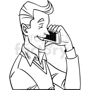 Black And White Man Talking On Phone Vector Clipart Clip Art Black And White Man Vector Clipart