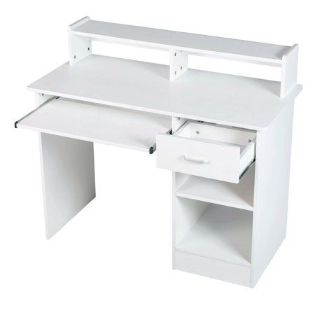 White Computer Desk Small Office Desk Work Table With Keyboard Tray And Drawer Image 2 Of 7 White Computer Desk Small Desk Small Office Desk
