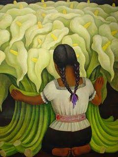 """""""The Flower Vendor (Girl with Lilies"""" por Diego Rivera Diego Rivera pinto figuras muy simples y infantil, haciendo una sensacion de paz y inocencia. El uso mucho oscuro en el fondo acentua del uso del blanco y verede para crear una imagen con mucha luz."""