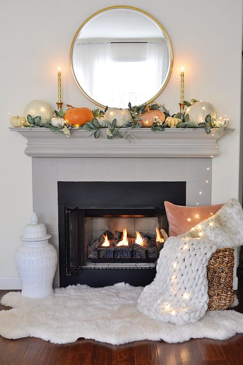 Fall mantel decor- 2 Ladies & A Chair In California the fall season has the best weather. It's the perfect time for fall entertaining outdoors. So many of my Californian friends, including myself, were married in October because of the fabulous weather. Fall Fireplace Decor, Fall Mantel Decorations, Mantel Ideas, House Decorations, Fireplace Design, Thanksgiving Decorations, Seasonal Decor, Fall Living Room, Living Room Decor