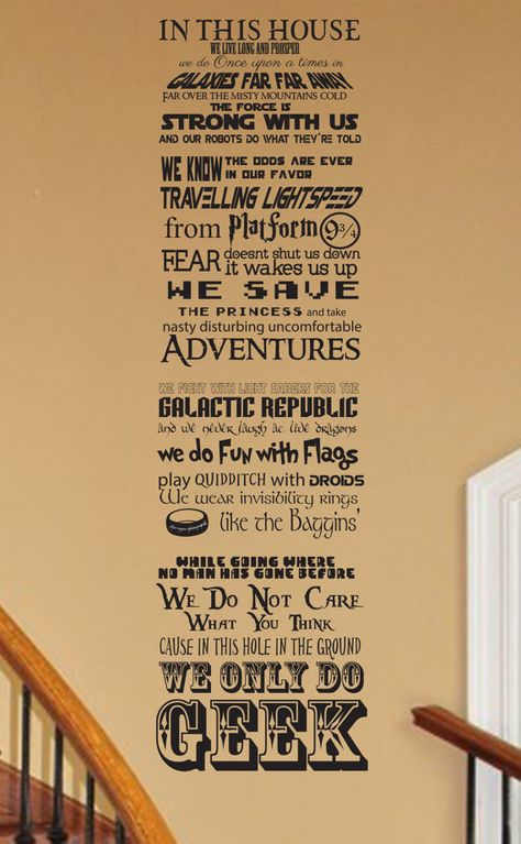 This is our original poem mash up. Show you are a fan of all things GEEK with our original geekery inspired wall decal. Put it on your door or wall as a welcome and note that We Do Geek. This poem if you will we designed to try and fit in as many items as we could. It is fully customizable, including size and if you only want part of the poem. It includes items from Harry Potter, Star Wars, Star Trek, Nintendo, The Hobbit series, tv show Big Bang Theory, Divergent, Hunger Games, and fairy…