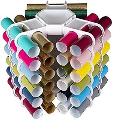 Amazon Com Artbin 6864as Vinyl Storage Rack Stores 12 Vinyl Rolls White In 2020 Craft Room Craft Room Organization Vinyl Rolls
