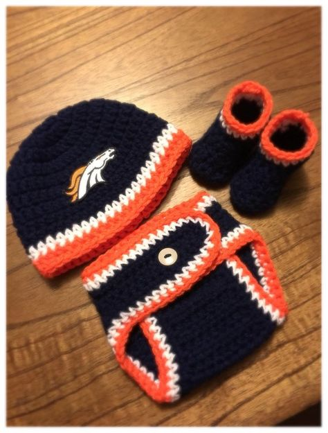 22be643f8 Denver Broncos Baby Boy Hat and Diaper Cover Knit Crochet Coming Home  Outfit Baby Shower Gift
