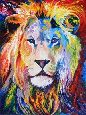 Bright Colored Painting Of Lion
