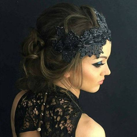 Christmas Black Lace Crown Evil Queen Costume Headpiece Dark Witch Mistress  Headband Fascinator Bach 78106d46d9b