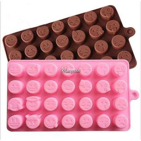 Smiley Poop Soap Mold 2-pk Cute Round Silicone Emoji Face Chocolate Candy