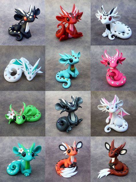 fimo Dragon Sale June by DragonsAndBeastie. Polymer Clay Dragon, Polymer Clay Figures, Cute Polymer Clay, Polymer Clay Animals, Cute Clay, Fimo Clay, Polymer Clay Projects, Polymer Clay Charms, Polymer Clay Creations