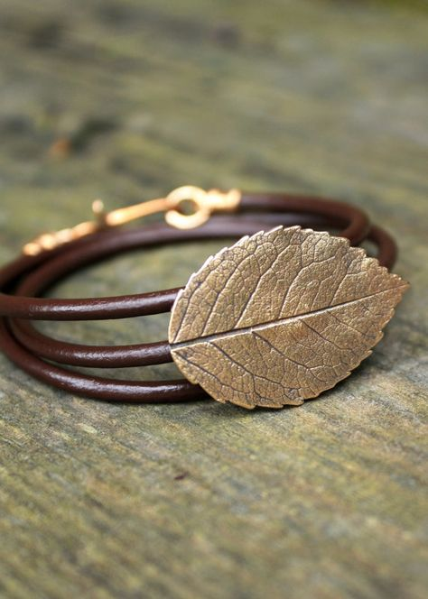 Bronze Rose Leaf Bracelet - Eco Friendly Recycled Bronze - Medium Rose Leaf Leather Wrap via Etsy