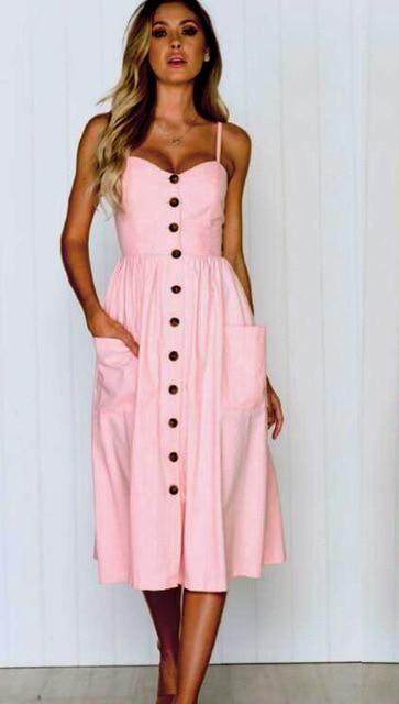 f3ed8b02336cb AOTEMAN Summer Dress Women Sexy Striped Pocket White Vintage Dress ...