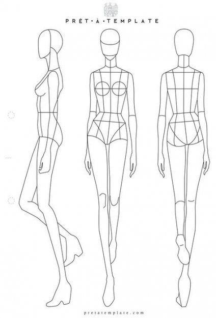 Fashion Model Outline Templates Sketch Template 10