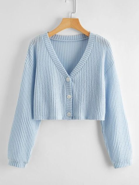 Solid Button Front Crop Cardigan