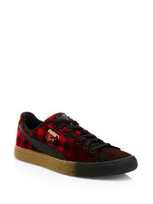 Puma Clyde Red Buffalo Plaid Sneakers